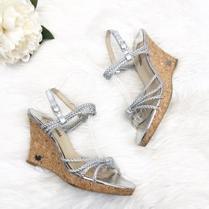 Michael Kors Silver Strappy Wedges 9.5